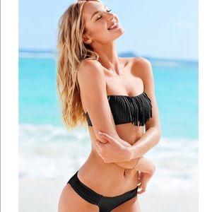 NEW Victoria's Secret Black Fringe Bikini Set XS